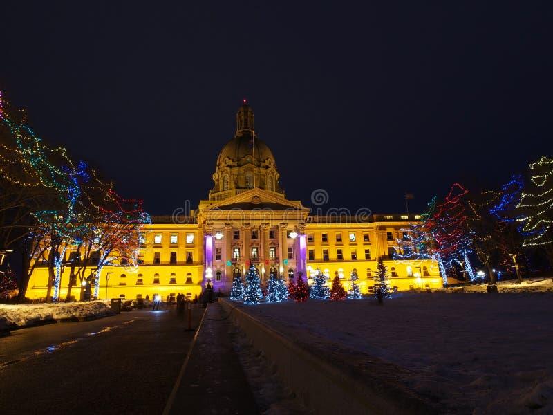 Edmonton de construction législatif, Alberta With Christmas Lights photo stock