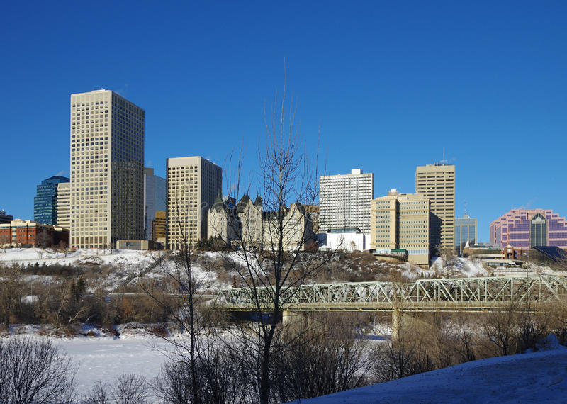 Edmonton in de Winter royalty-vrije stock fotografie