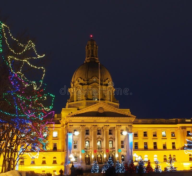 Edmonton di costruzione legislativo, Alberta With Christmas Lights fotografia stock libera da diritti