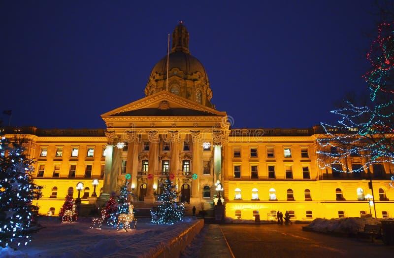 Edmonton di costruzione legislativo, Alberta With Christmas Lights fotografie stock