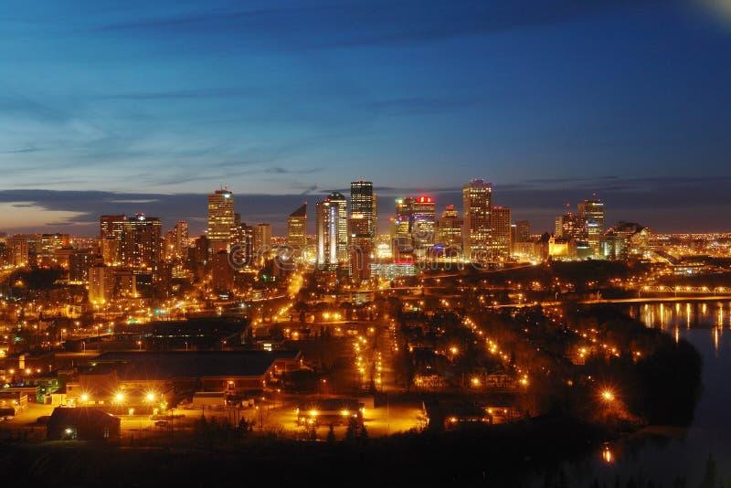 Edmonton downtown nightshot. Nightshot of Edmonton downtown, Alberta, Canada stock photos
