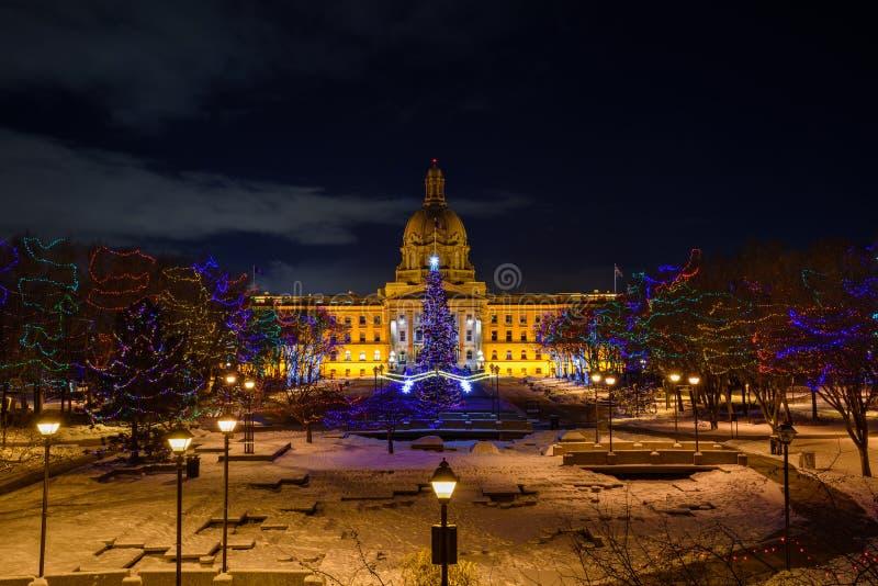 Edmonton - edificio de la legislatura en noche fría del invierno fotos de archivo libres de regalías