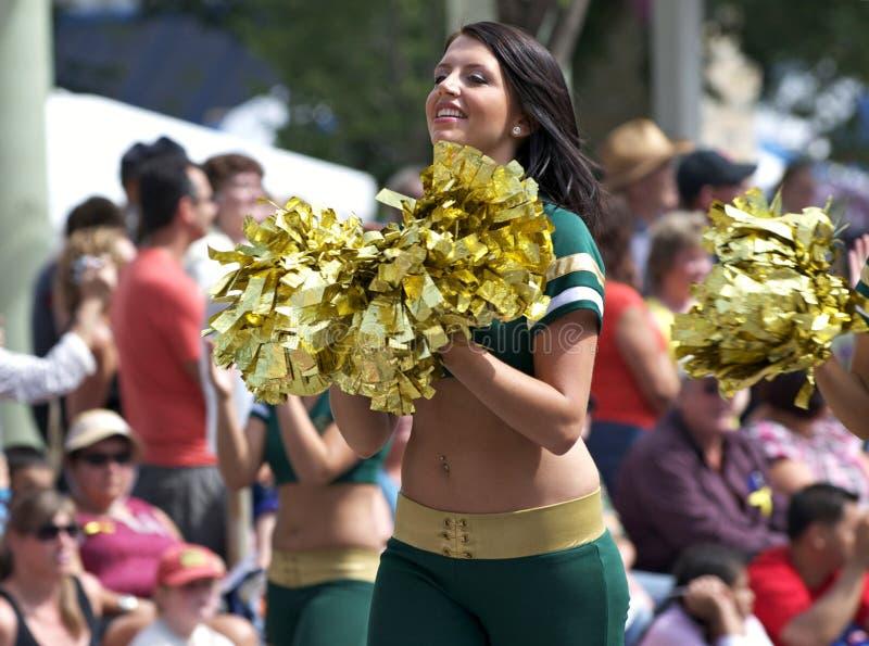 Edmonton Eskimo Cheerleaders. Performing at a parade royalty free stock photos
