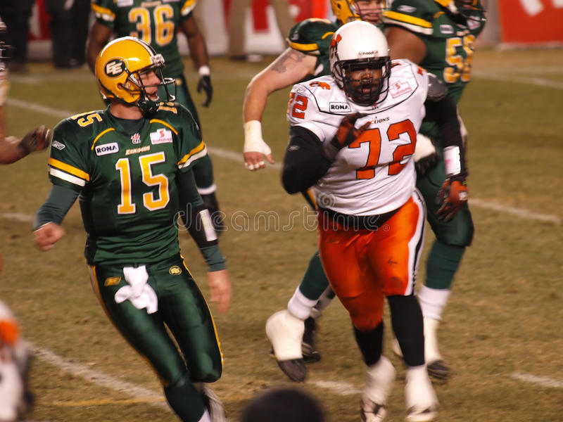 Edmonton Eskimos vs. B.C. Lions. A CFL (Canadian Football League) professional football game with the Edmonton Eskimos and the B.C. Lions royalty free stock images