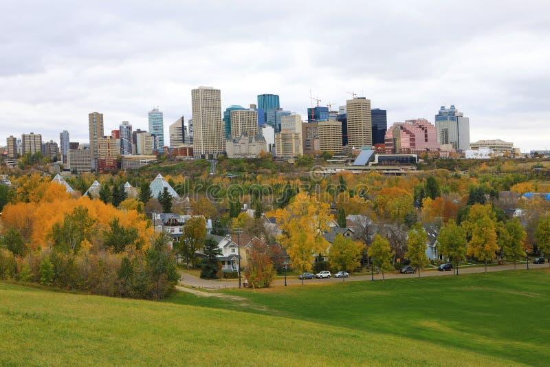 Edmonton Kanada cityscape med den färgrika aspen i nedgång arkivfoton