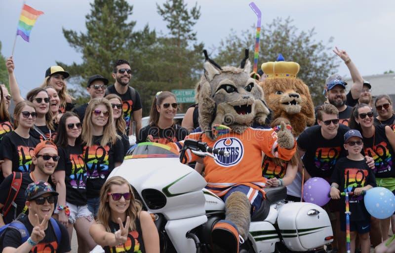 Edmonton Kanada-Juni 9, 2018: Pride Supporters At Edmonton ` s Pride Parade royaltyfria foton