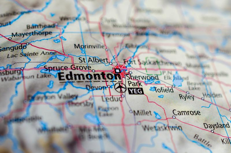 Edmonton on map. Close up shot of Edmonton. is the capital city of the Canadian province of Alberta stock photography