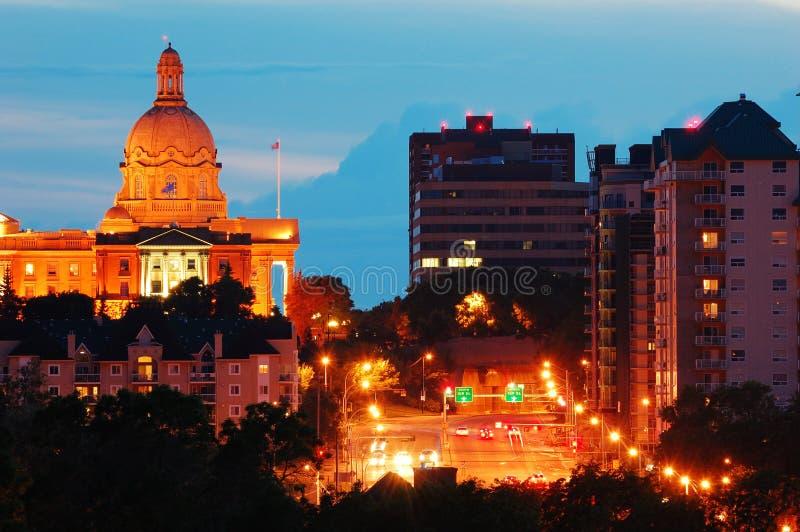 Edmonton nightshot. Nightshot of the legislative building in downtown at dusk, edmonton, alberta, canada royalty free stock photos