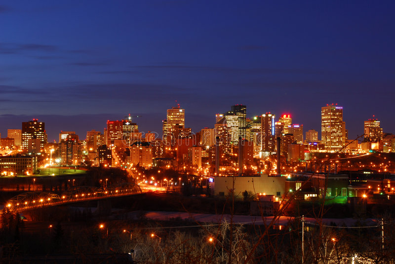 Edmonton nightshot. Nightshot of edmonton downtown and the north saskatchewan river valley, edmonton, alberta, canada royalty free stock images
