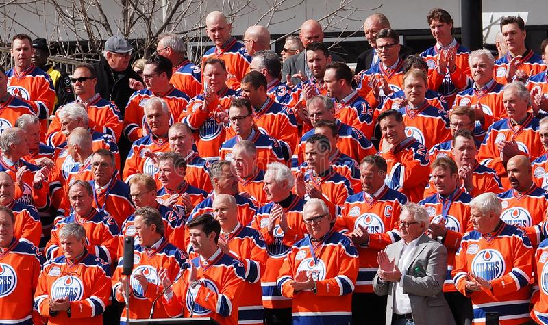 Edmonton Oilers Hockey Players Reunion. For last hockey game in Edmonton Alberta`s Coliseum April 6, 2016 stock photography