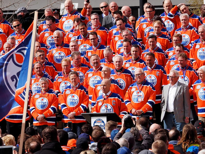Edmonton Oilers Hockey Players Reunion. For last hockey game in Edmonton Alberta`s Coliseum April 6, 2016 stock photos