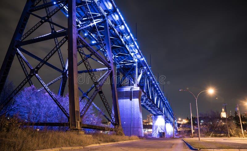 Edmonton's High Level Bridge. At night filled with LED lights royalty free stock photo