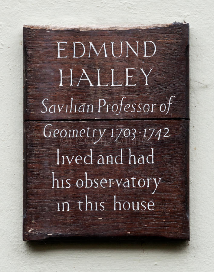 Edmund Halley Plaque royalty-vrije stock afbeelding