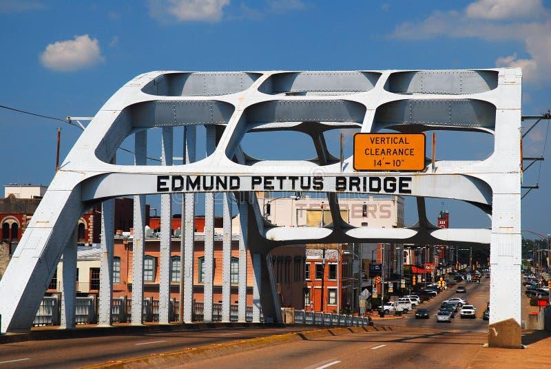Edmund Pettus Bridge, Burgerrechtenoriëntatiepunt, Selma, Alabama stock afbeeldingen