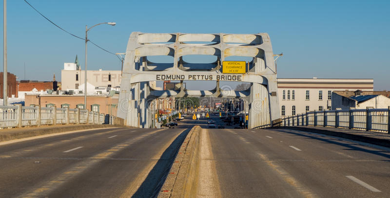 Edmund Pettus Bridge in Selma Alabama stock afbeelding