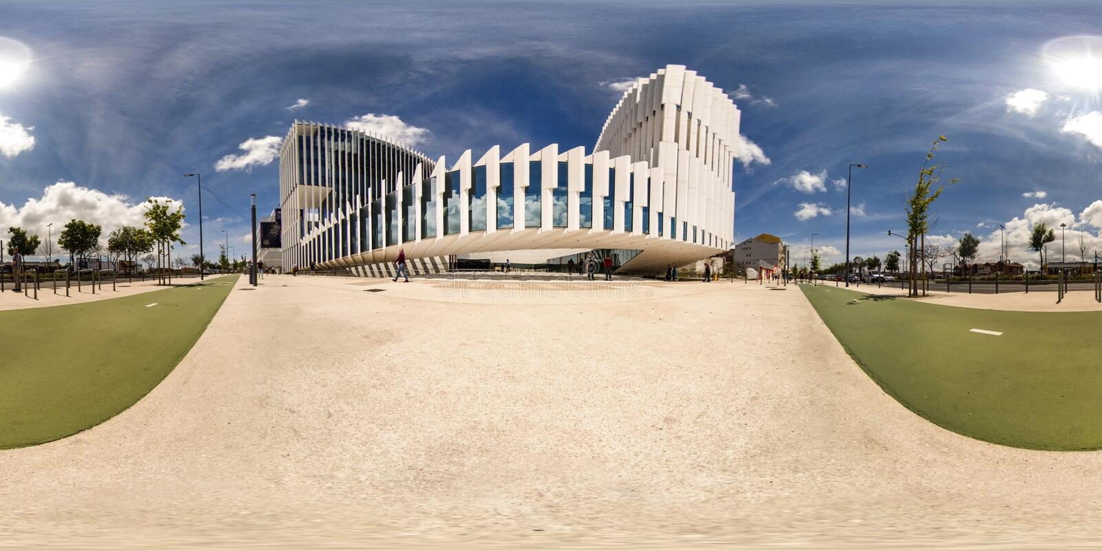 EDP Headquarters   Lisboa, Portugal. The structure is etched with vertical elements which give modulation, structure, protection from the sun, and resolve the royalty free stock photography