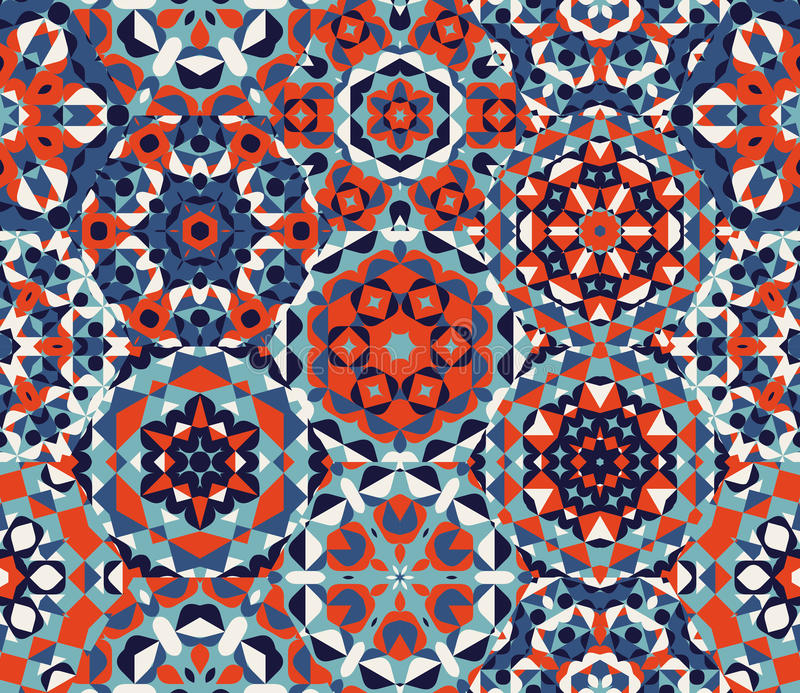 A edredão vermelha sem emenda da maravilha do bloco do azul um do vetor Ornaments o teste padrão dos retalhos ilustração do vetor