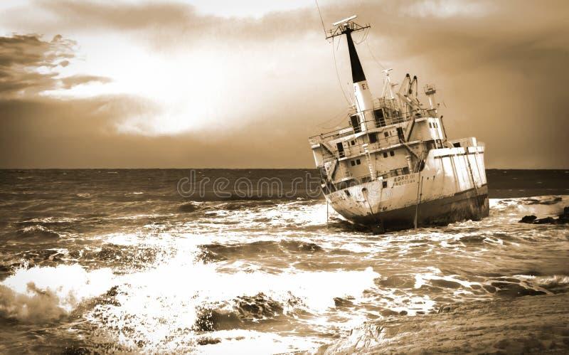 Edro iii Shipwreck Cyprus in Sepia royalty free stock photo