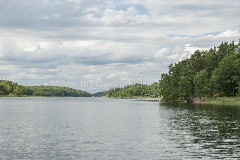 Edsviken in Stockholm in de zomer stock afbeeldingen