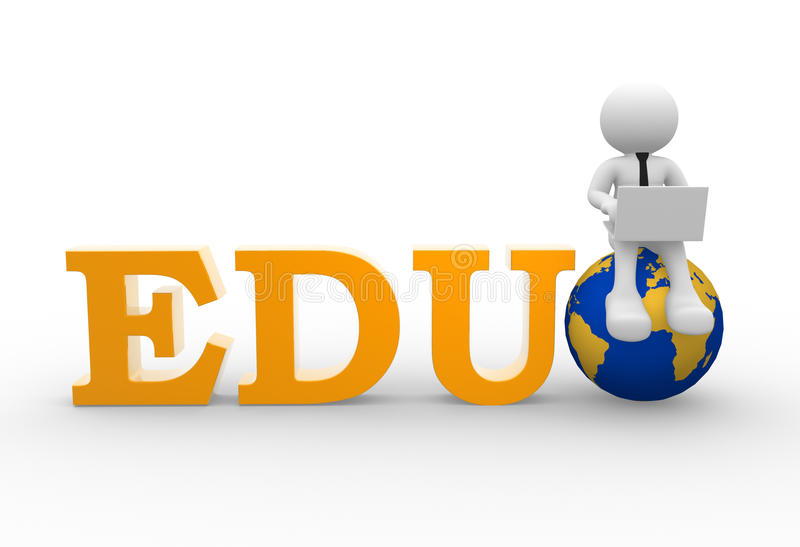 EDU. 3d people - man, person with a laptop and earth globe. EDU vector illustration