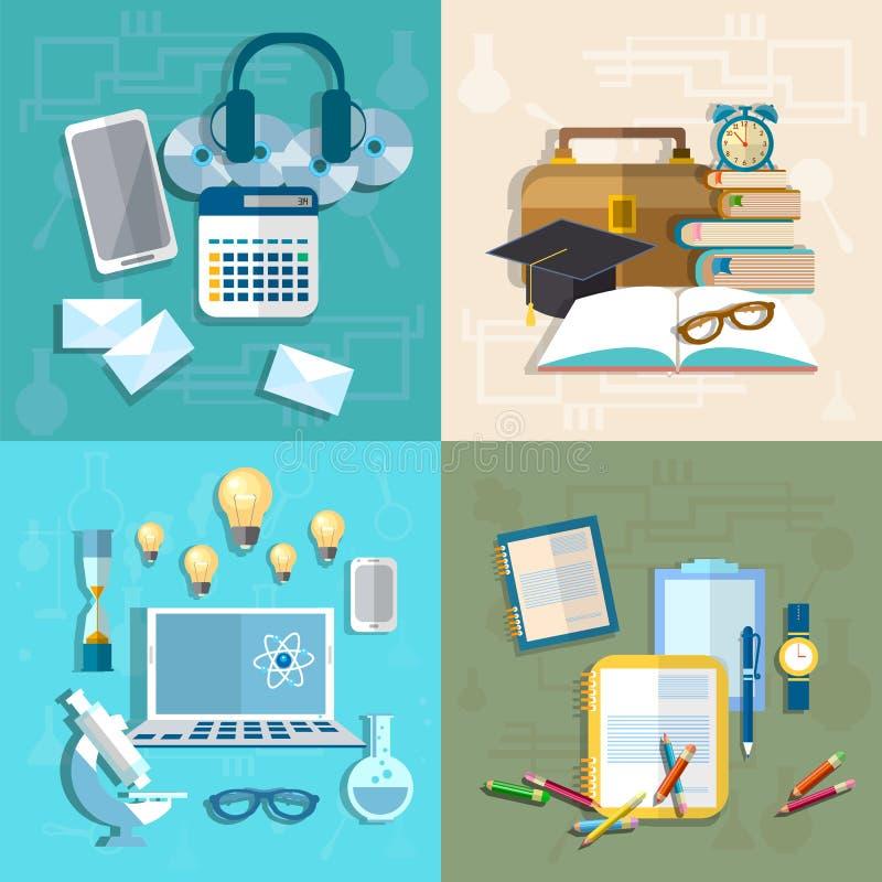Educação, aprendendo em linha, estudante, pesquisa, conhecimento, livros ilustração do vetor