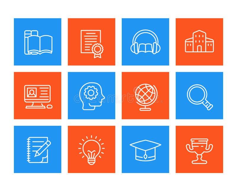 Educação, aprendendo a linha ícones ajustados ilustração royalty free