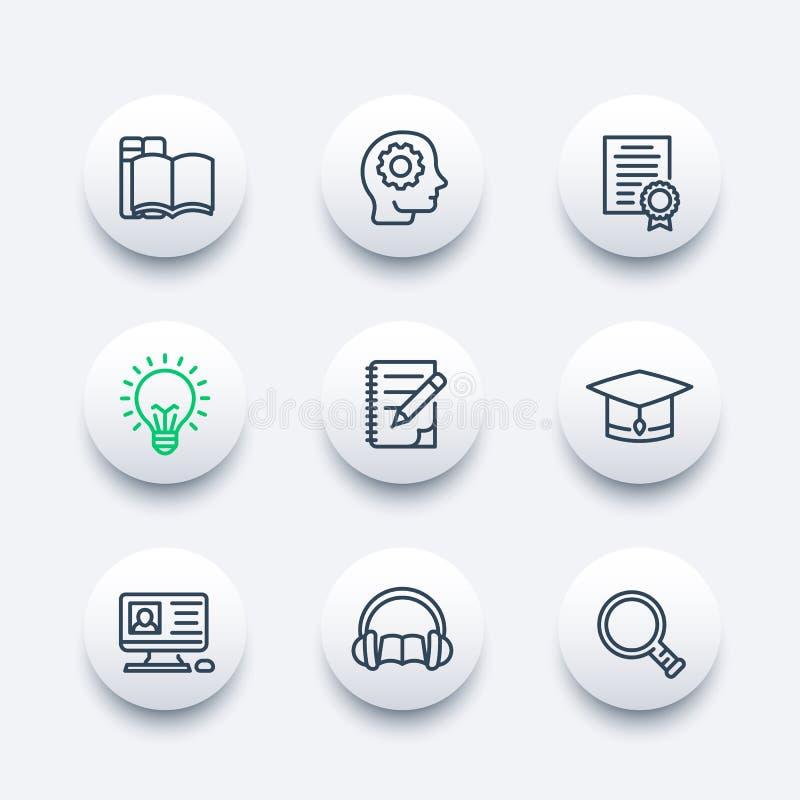 Educação, aprendendo os ícones ajustados no estilo linear ilustração stock