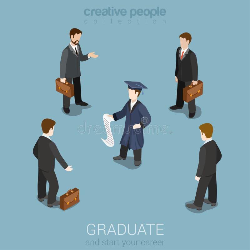 Educação, carreira futura, caçando cabeças o conceito isométrico ilustração royalty free