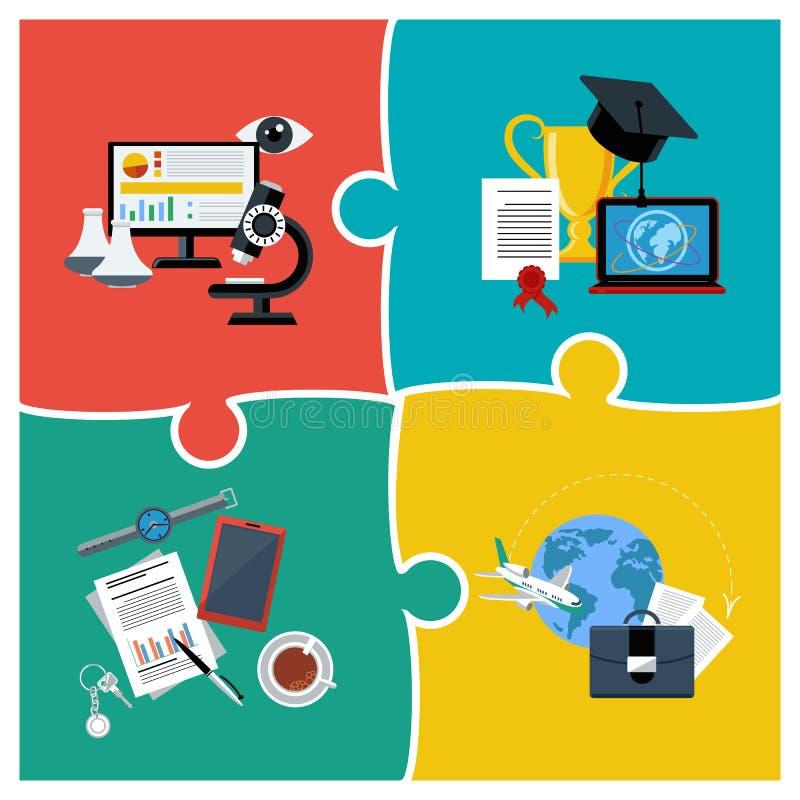 Educação, ciência e negócio em linha ilustração royalty free