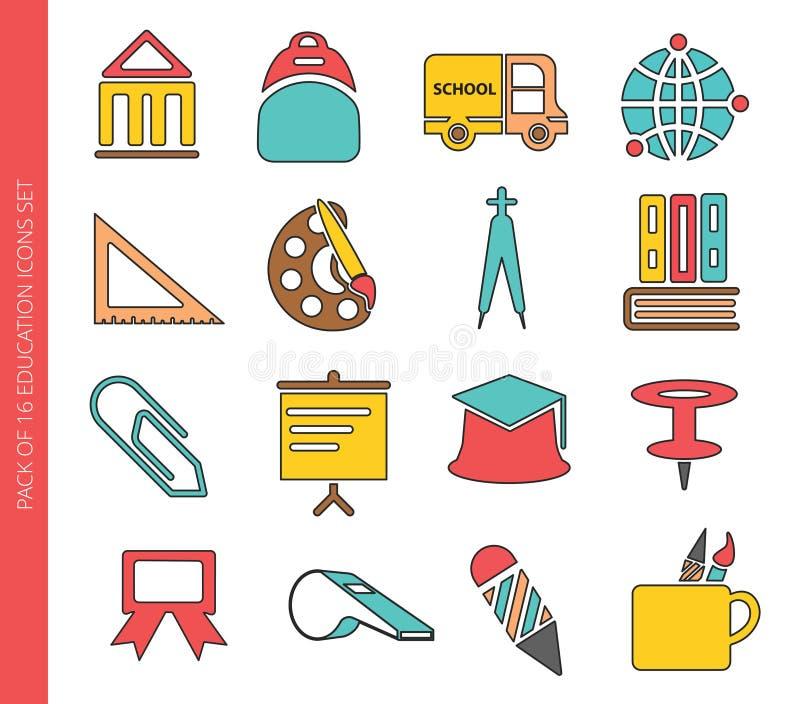 A educação coloriu a coleção dos ícones no estilo liso na moda isolada no fundo branco ilustração stock