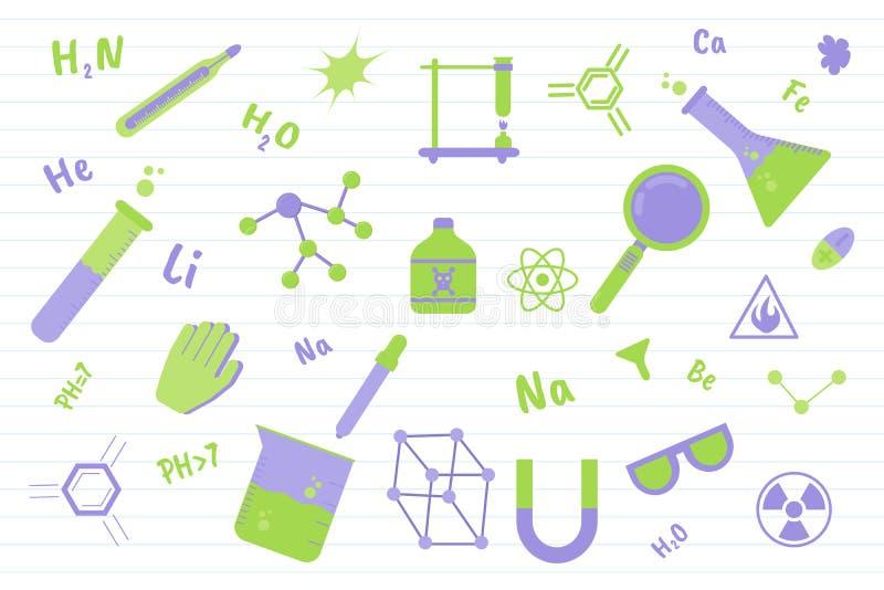 Educação da ciência da química com vários objetos e linha fundo do papel - ilustração do vetor ilustração do vetor