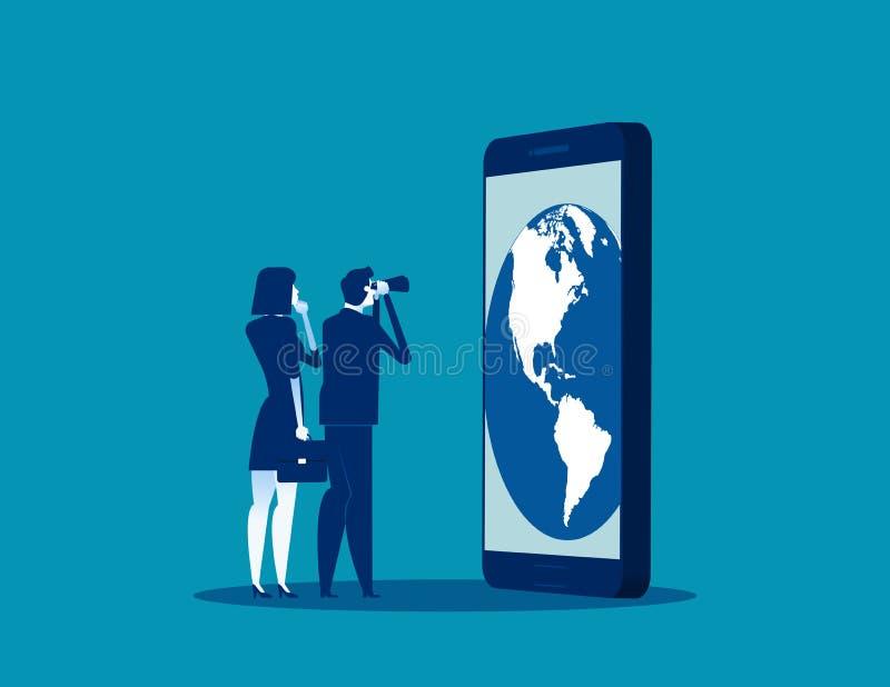 Educação da equipe do negócio para ao negócio global Ilustração global do vetor do conhecimento do negócio do conceito, desenhos  ilustração do vetor