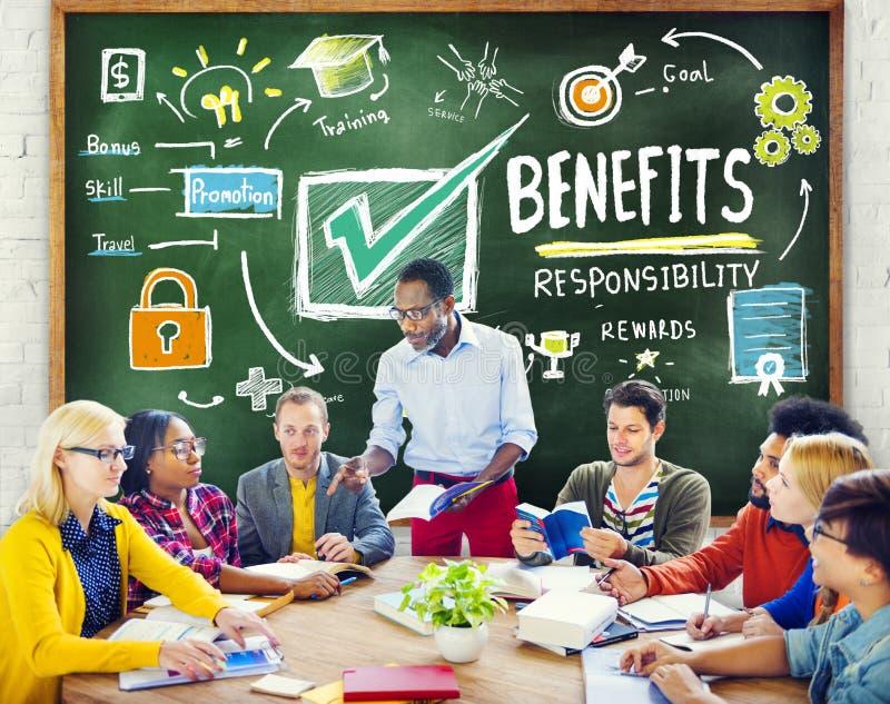 Educação da renda do salário do lucro do ganho dos benefícios que aprende o conceito fotos de stock royalty free