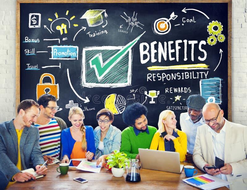 Educação da renda do salário do lucro do ganho dos benefícios que aprende o conceito foto de stock