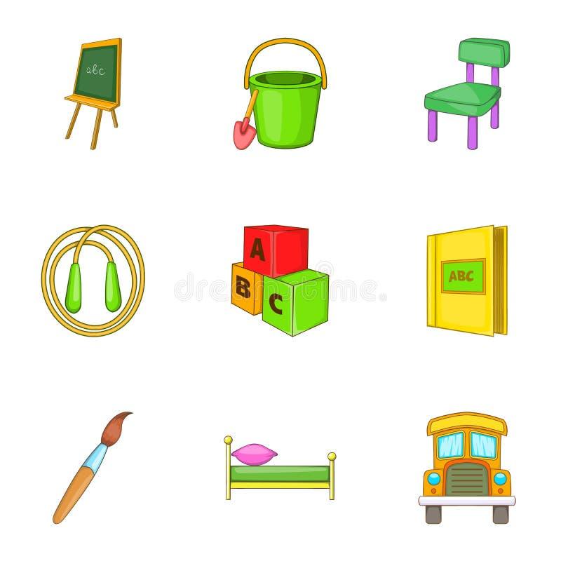 Download A Educação De ícones Da Criança Ajustou-se, Estilo Dos Desenhos Animados Ilustração do Vetor - Ilustração de cartoon, barra: 80101697
