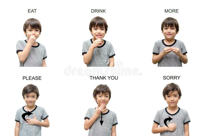 Educação de linguagem gestual da mão da criança no fundo branco foto de stock