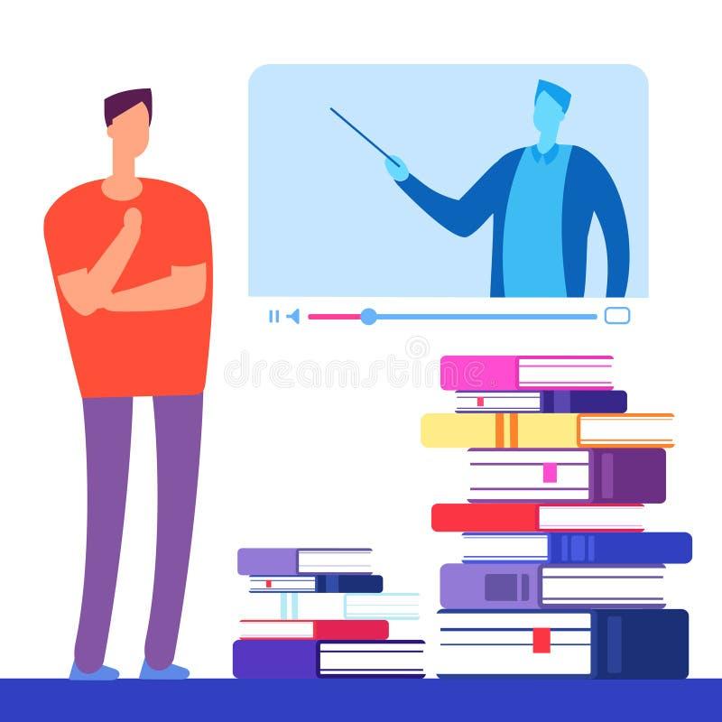 Educação do auto com livros e conceito em linha do vetor dos cursos ilustração royalty free