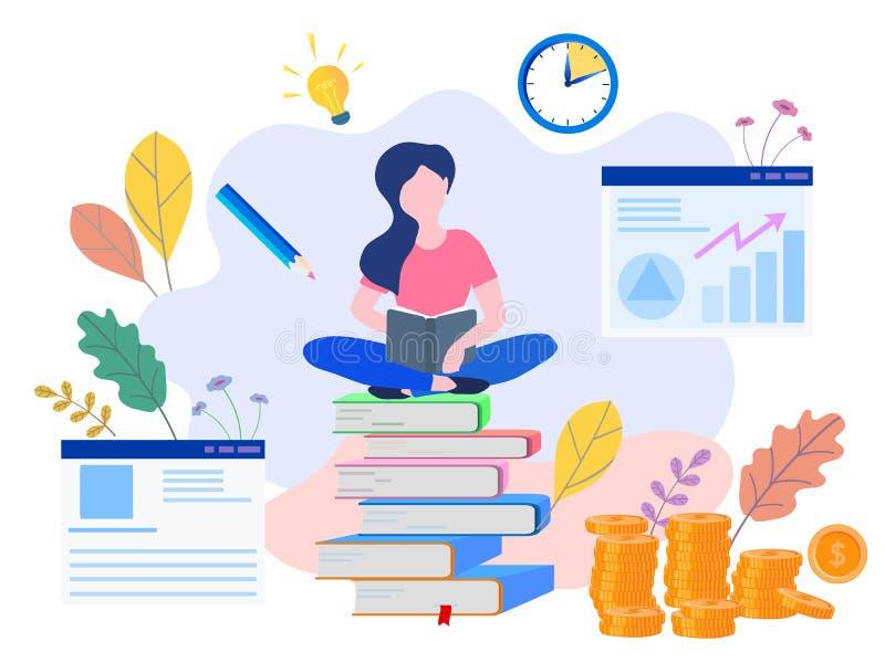 Educação do conceito, treinamento em linha, Internet que estuda, BO em linha ilustração do vetor