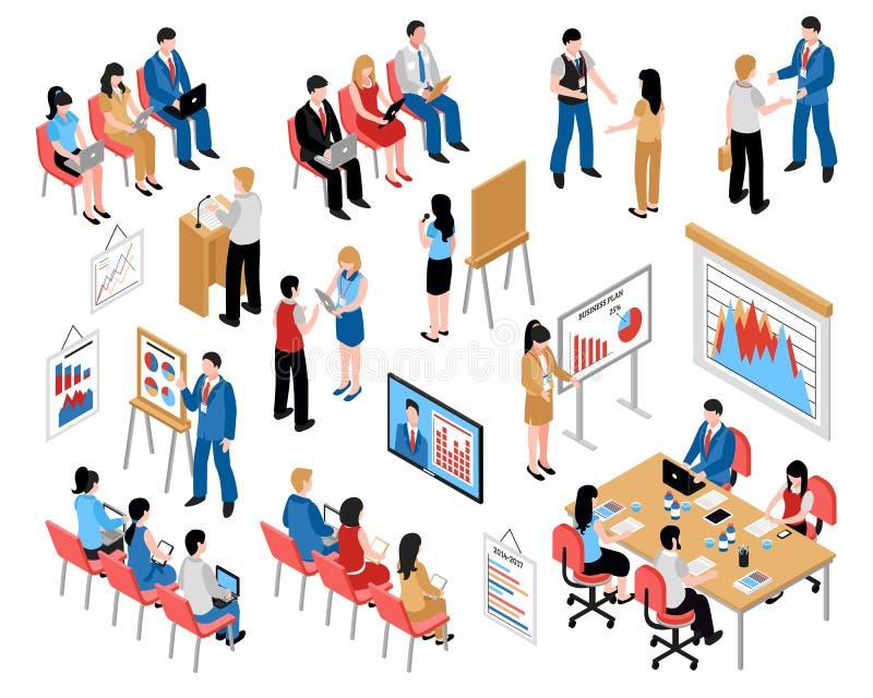 Educação do negócio e treinamento dos ícones isométricos ajustados ilustração royalty free