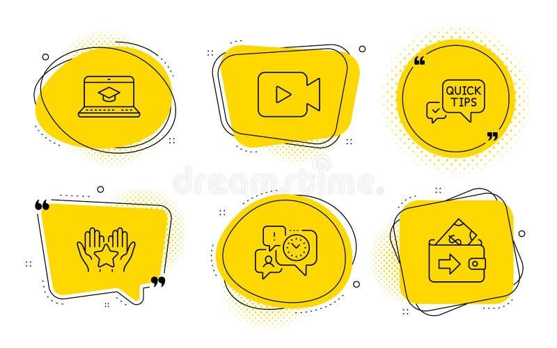 Educação do Web site, pontas rápidas e de ícones da câmara de vídeo grupo Gestão da classificação, de tempo e sinais da carteira  ilustração do vetor