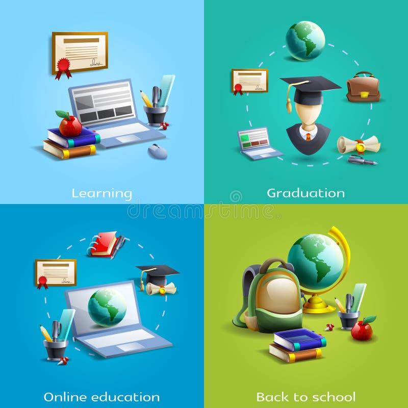 Educação e ícones da aprendizagem ajustados ilustração do vetor