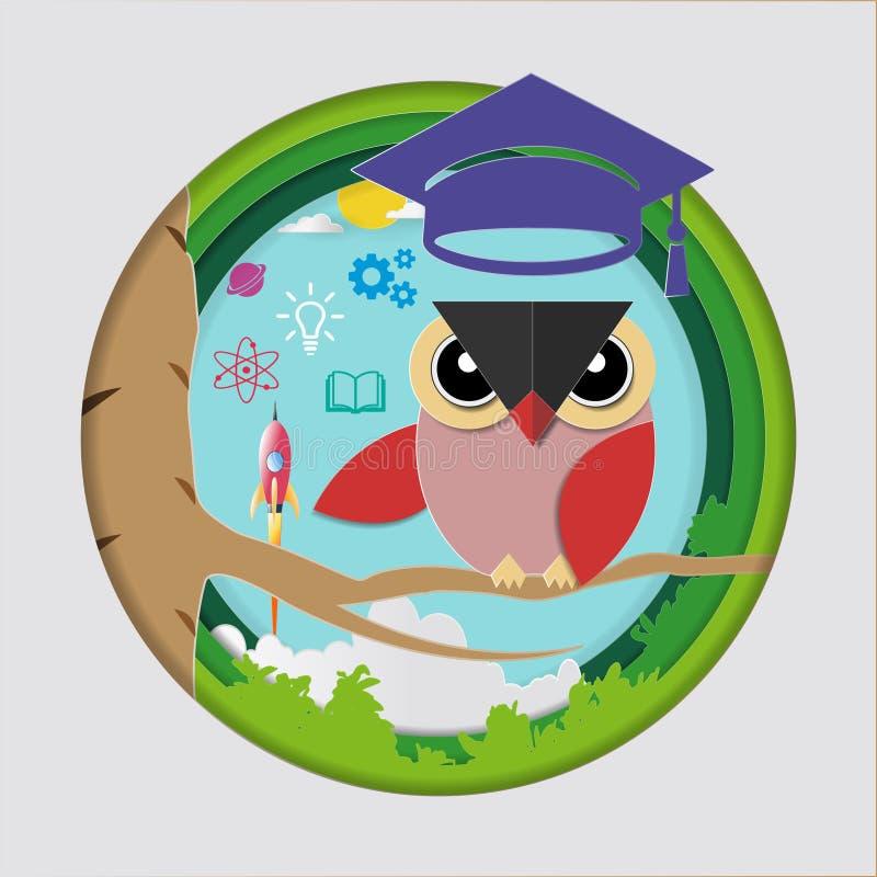 Educação e conceito da aprendizagem, professor da coruja com lançamento do tampão da graduação, do foguete de espaço e ícones do  ilustração royalty free