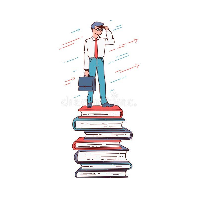 Educação e conceito do sucesso da carreira - posição do homem de negócios dos desenhos animados sobre a pilha empilhada do livro ilustração do vetor