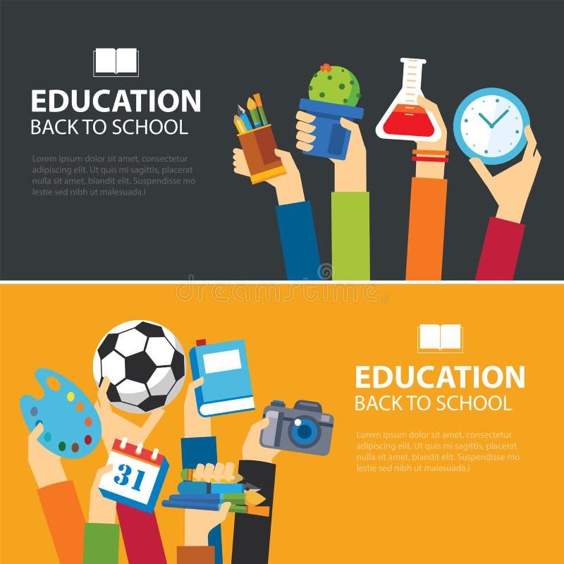 Educação e de volta ao projeto liso da bandeira de escola ilustração royalty free