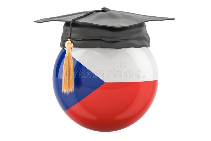 Educação e estudo no conceito de República Checa, rendição 3D ilustração do vetor