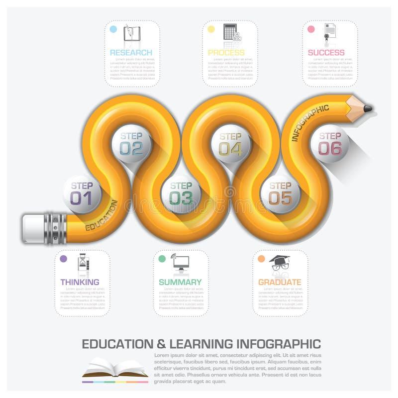 Educação e etapa Infographic da aprendizagem com lápis Diagra da curva ilustração stock