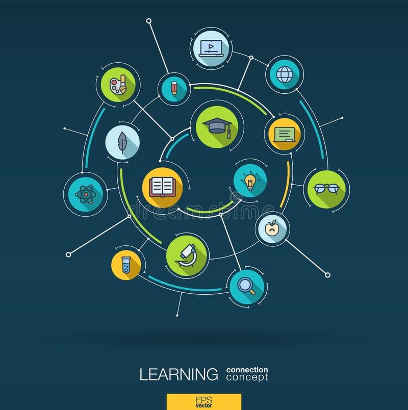 Educação e fundo abstratos da aprendizagem Digitas conectam o sistema com os círculos integrados, ícones lisos da cor Vetor ilustração stock