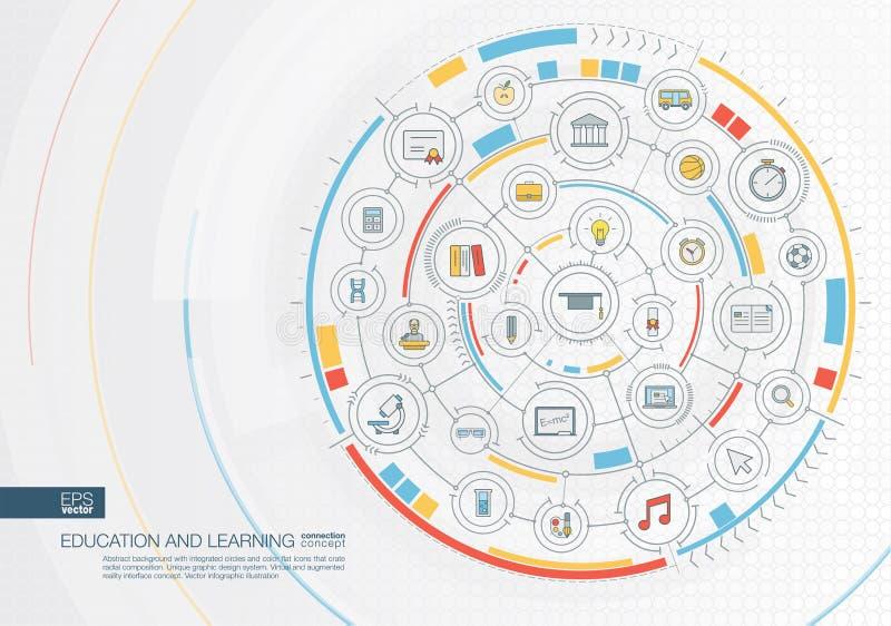 Educação e fundo abstratos da aprendizagem Digitas conectam o sistema com os círculos integrados, ícones lisos da cor ilustração do vetor