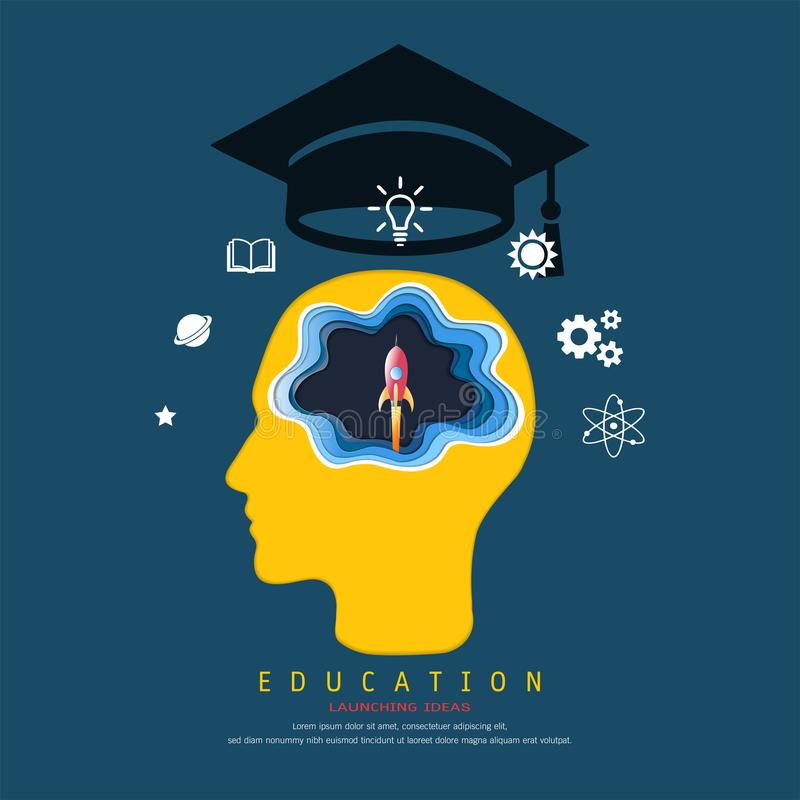 A educação e o conceito da aprendizagem, cabeça com cérebro que pensa um voo do foguete de espaço do lançamento, acima de sua cab ilustração royalty free