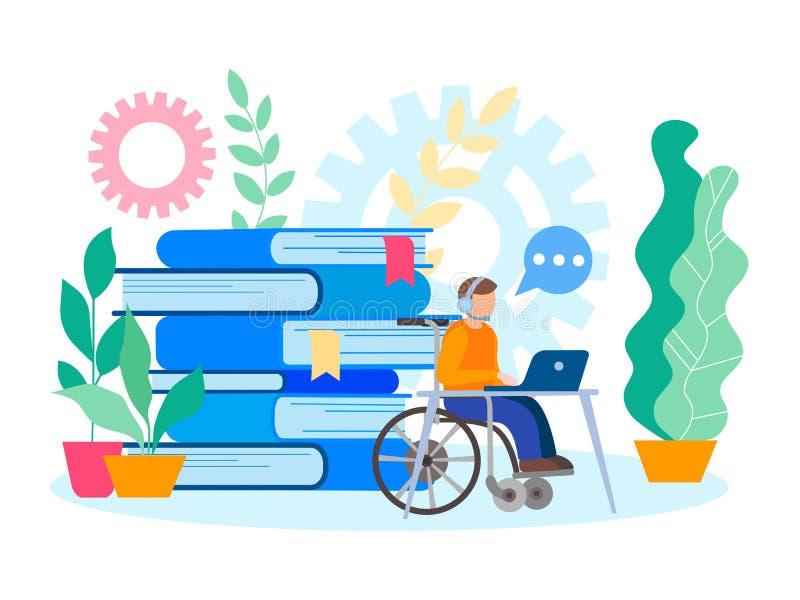 Educação e trabalho para o conceito artificial deficiente da pessoa da inabilidade do exame ilustração do vetor